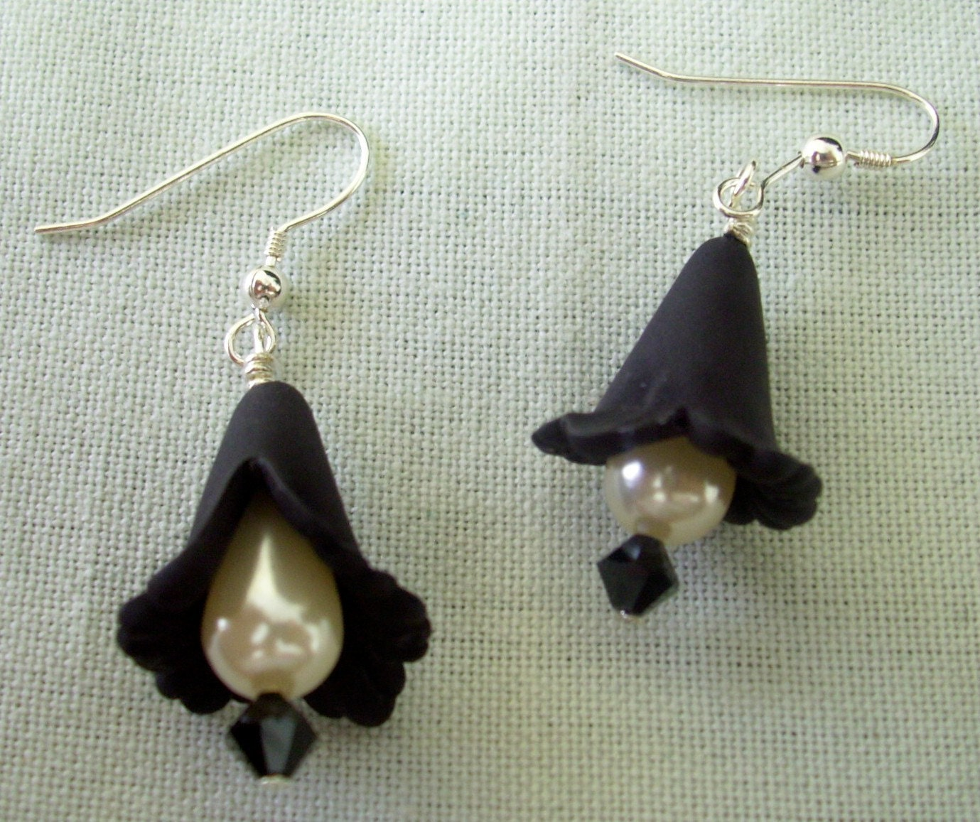 Mourning Glory Jet Earrings