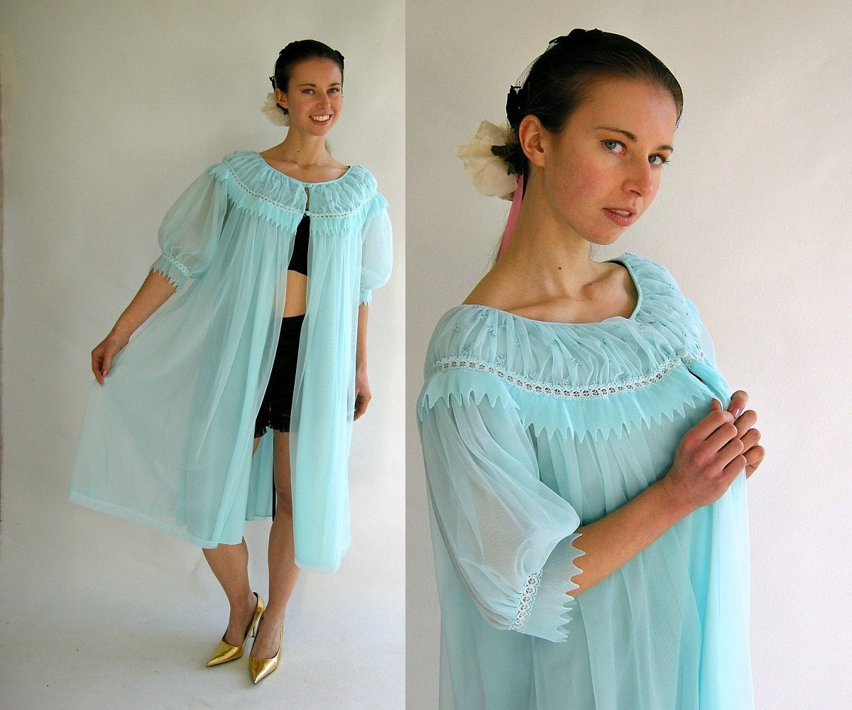 Turquoise Chiffon Vintage 50s Peignoir Robe by by empressjade