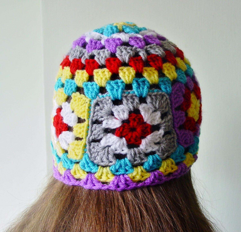 Festival hat summer hat Rainbow beanie Boho beanie Granny squares Ladies beanie Hipster hat Hippy hippie hat