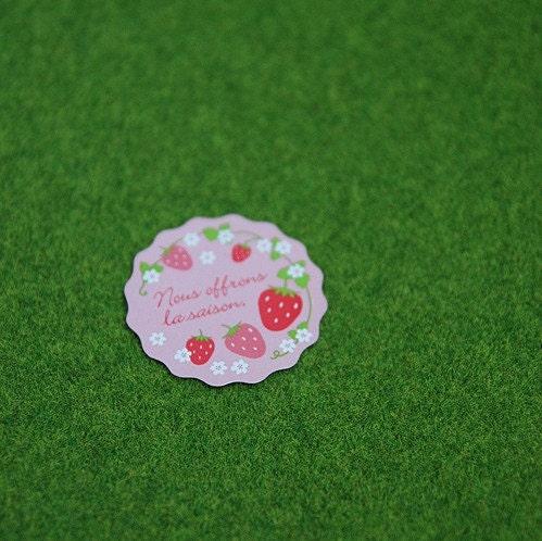 Strawberry sticker - 12pcs