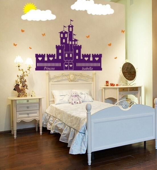 کودکان و نوجوانان هنر وینیل دیوار قلعه دختران شاهزاده خانم عزیزم پرستاری دیوار وینیل نقاشی دیواری آن را دیوار وینیل شخصی عکس برگردان ، گرافیک