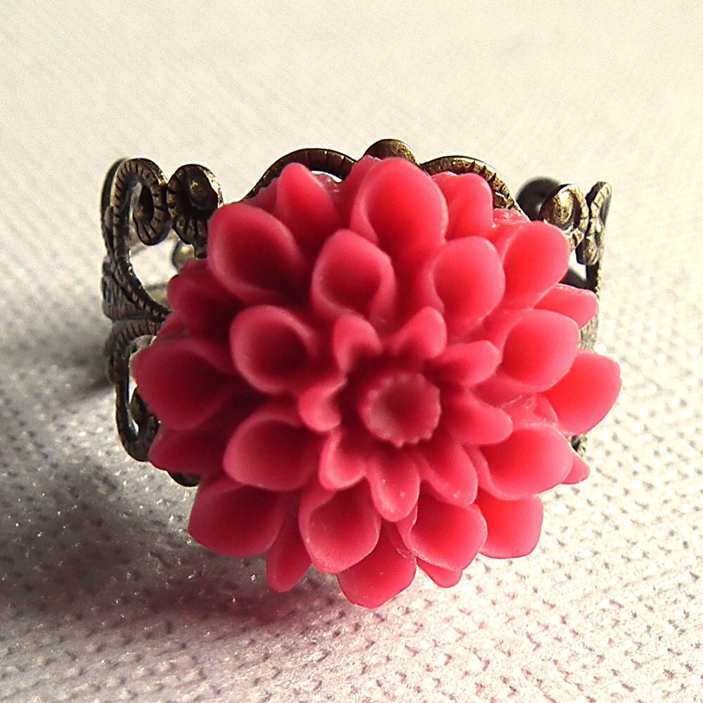 Bright Pink Antiqued Brass Filigree Ring