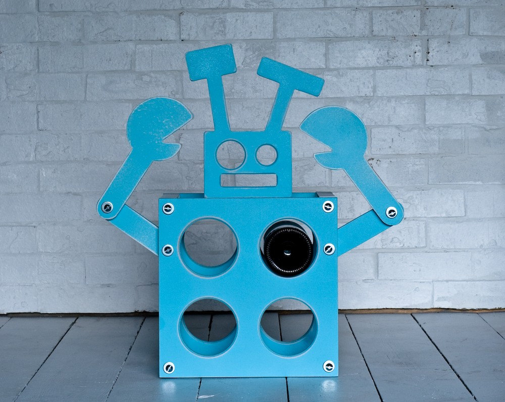 robot wine rack by paperdollwoodshop on Etsy from etsy.com