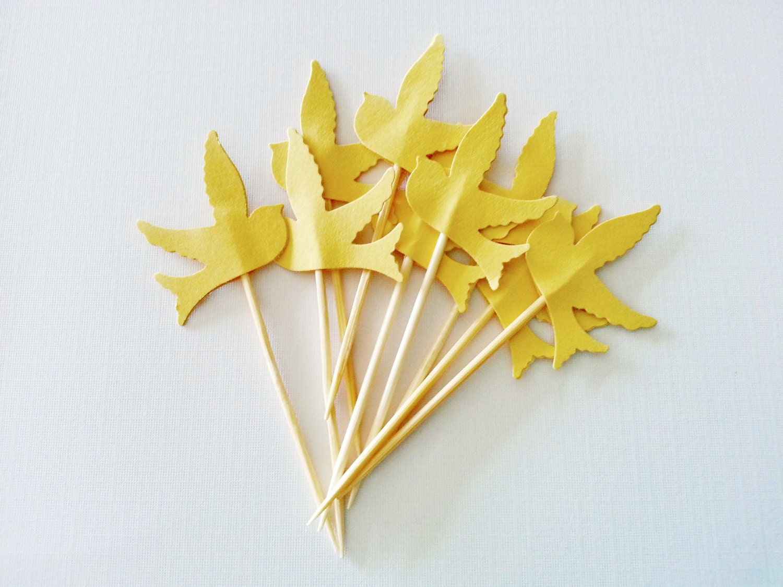 Items similar to 12 marigold yellow bird party picks for Cocktail yellow bird