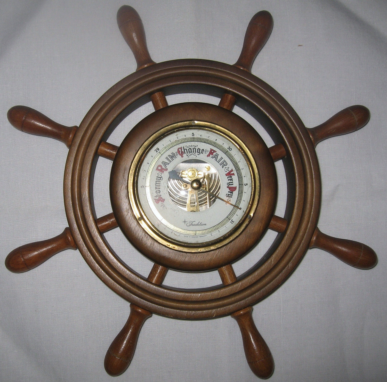 Vintage Wooden Ships Wheel Helm Barometer Sears By