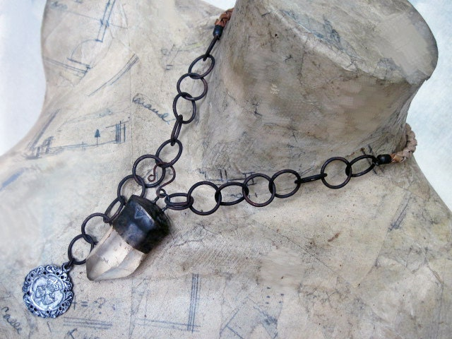 To Cast a Spell. Victorian Tribal Crystal Quartz Point Necklace.