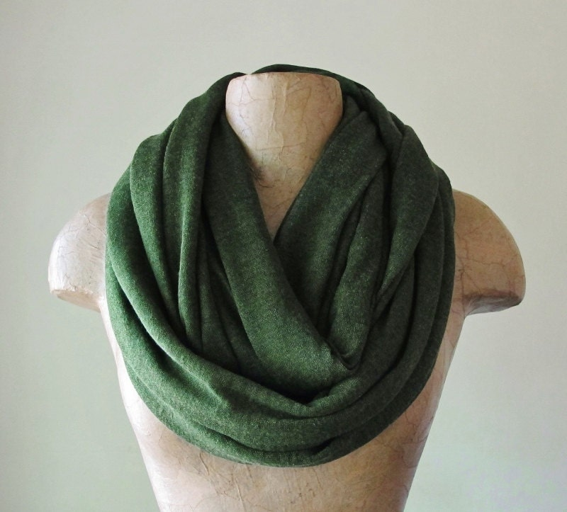 Forest Green Infinity Scarf - Lightweight Knit Scarf - Avocado Green Circle Scarf - Oversized Eternity Scarf, Chunky Scarf