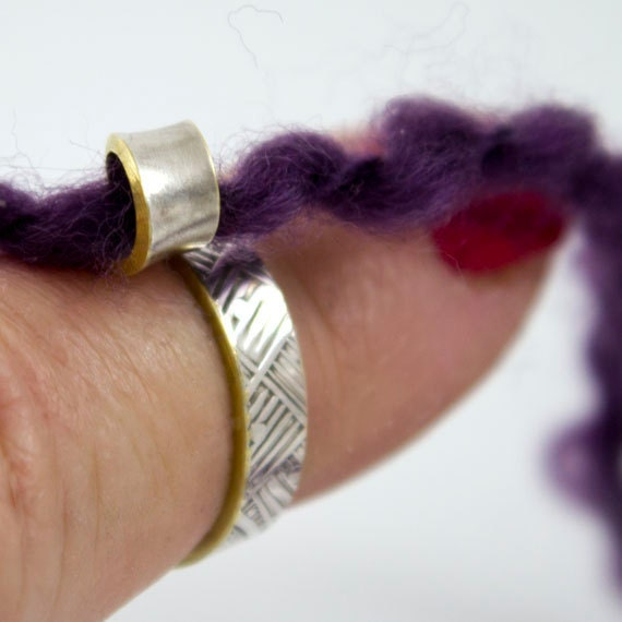 Knitting Ring Yarn Guide : Knitting ring silver yarn guide for your finger tip by itsvera