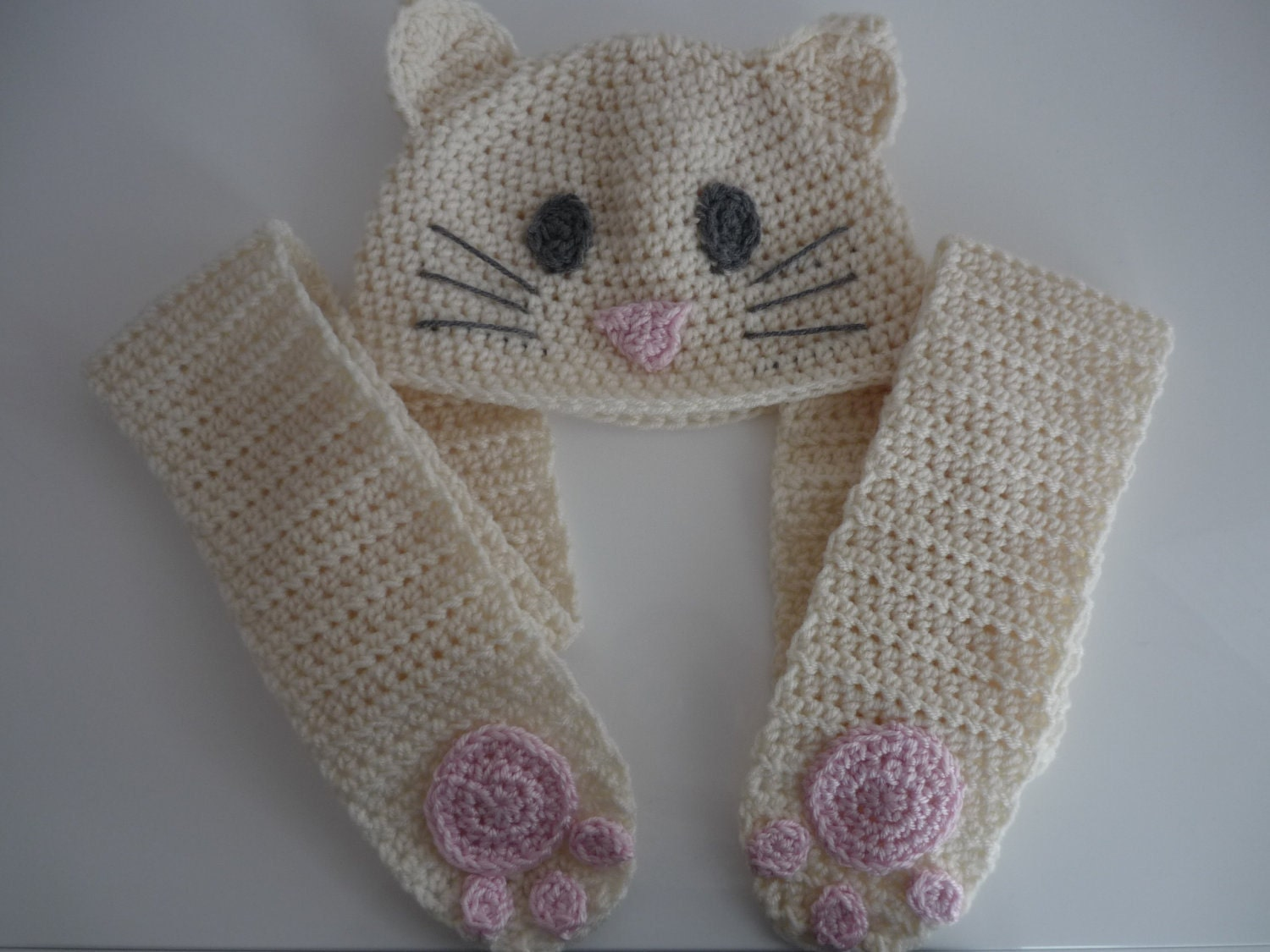 Crochet Pattern Hat Scarf Combo : Items similar to Kitty SnuggleHat, crochet hat and scarf ...