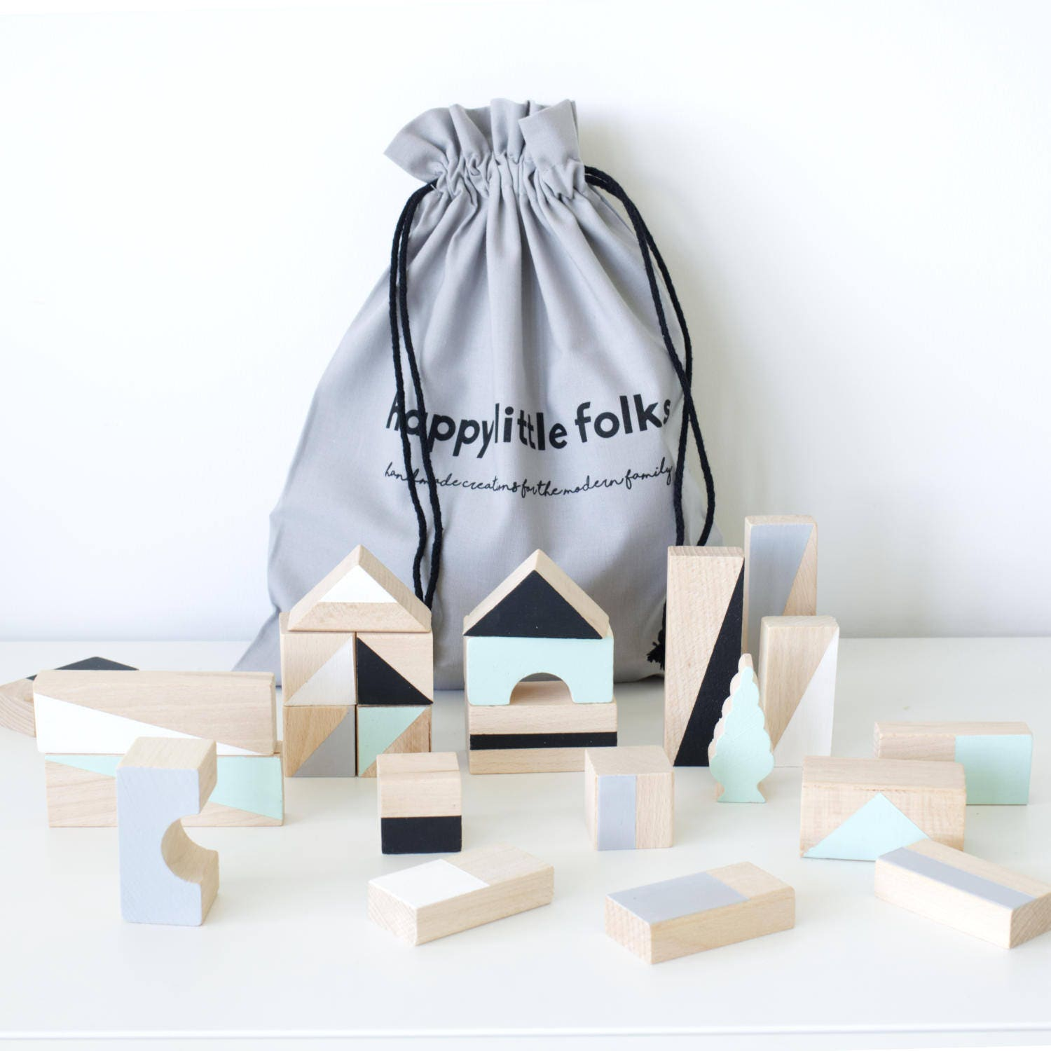 Wooden blocks in Mint Monochrome colours packed in cotton bag Building blocks Wooden toy Baby gift Toddler Christmas gift idea