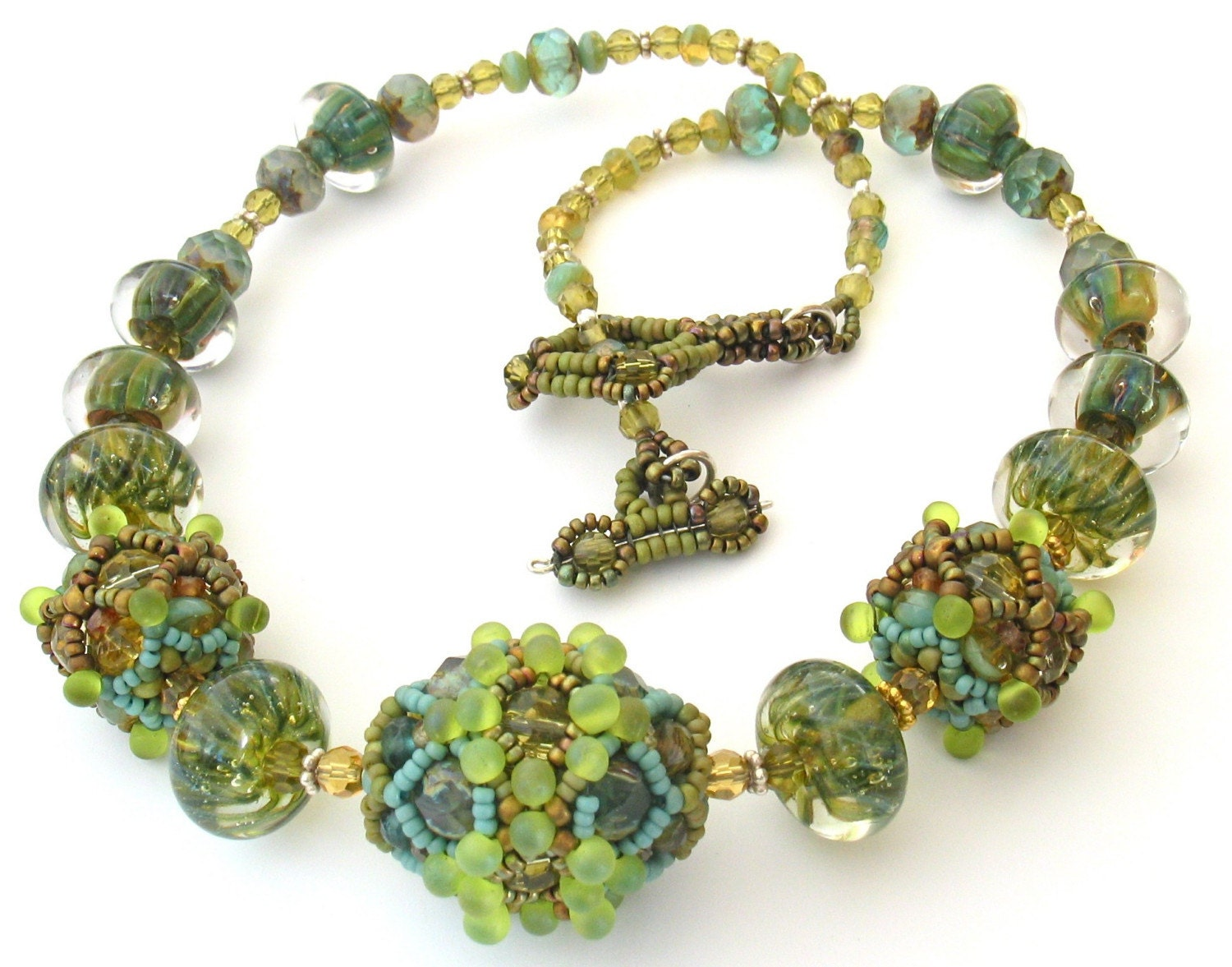 Harvest Jewels Beaded Bead and Borosilicate Glass Necklace -- Leaves