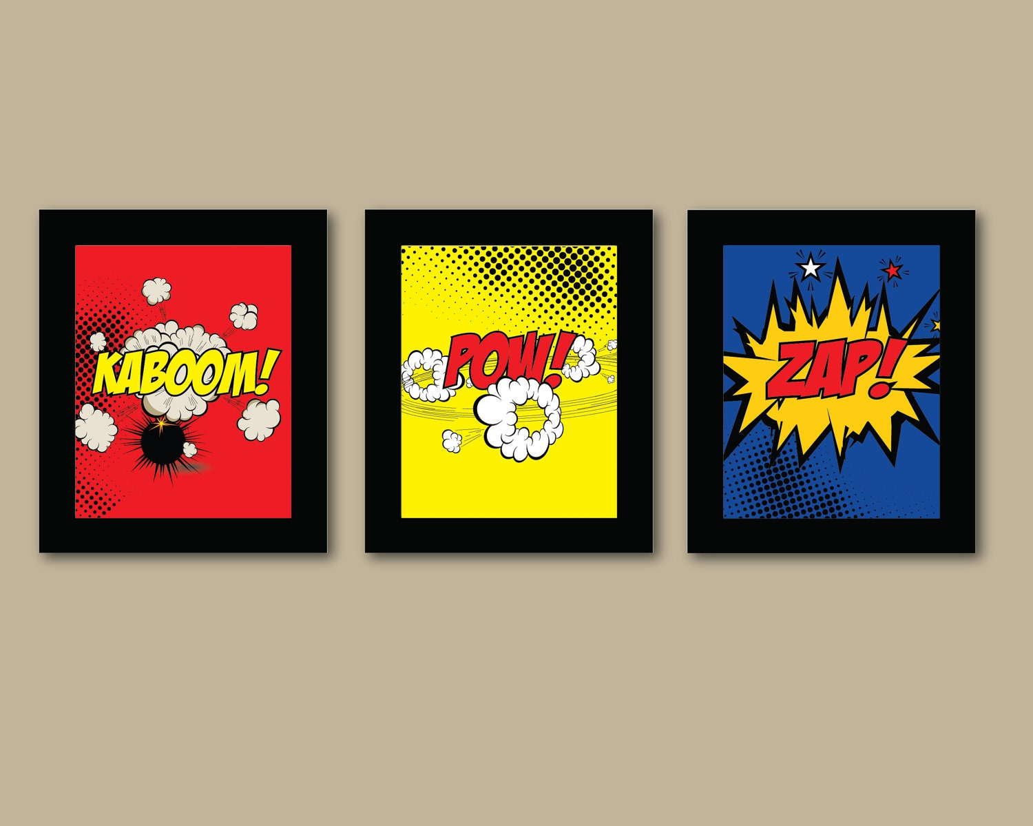 Set of 3 comic superhero prints 8x10 prints by augustandelm for Comic book bedroom ideas