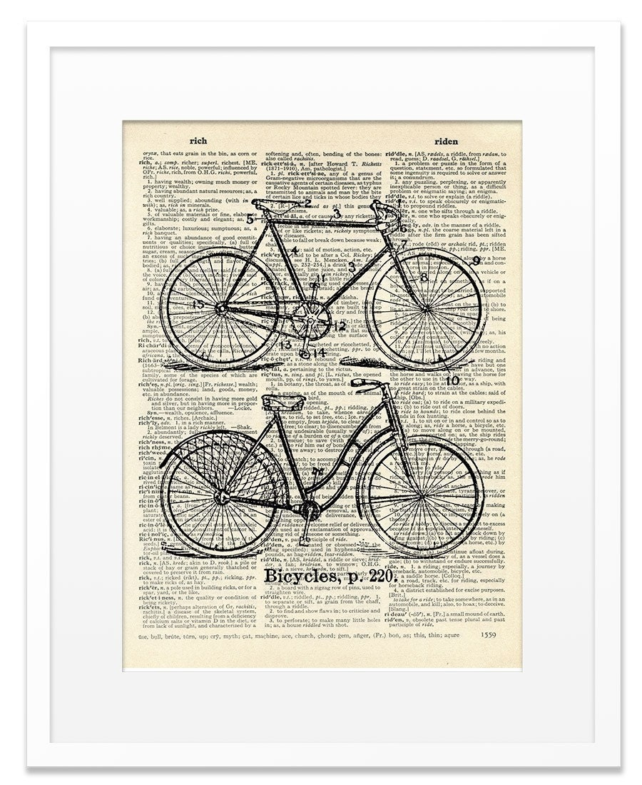 Bicycles - Vintage DICTIONARY Art Print - 8x10