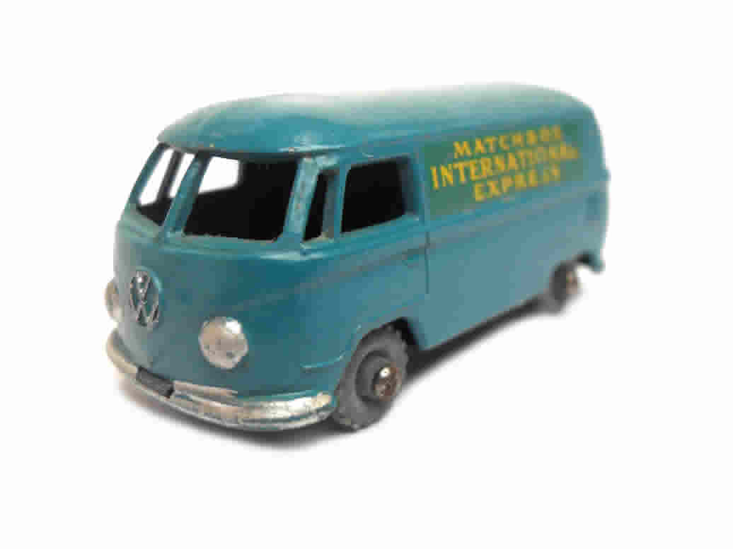 1950s Vintage Matchbox Lesney 34a Volkwagen Microvan Matchbox International Express. Toy Collectible. Made in England
