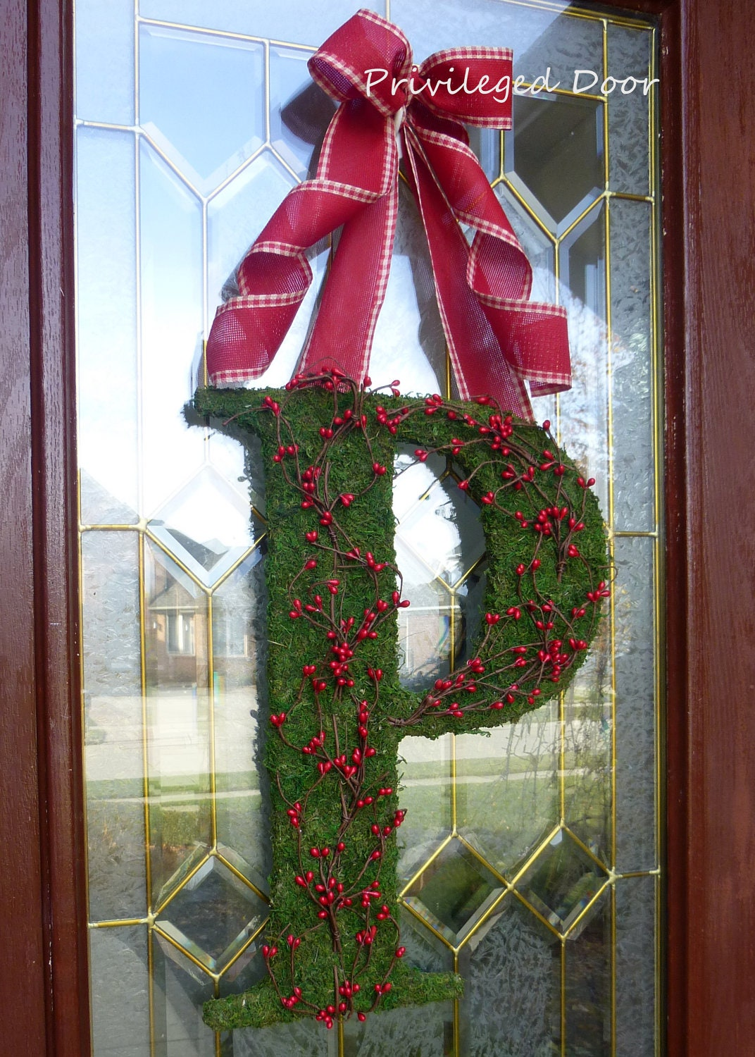 "Primitive Christmas Wreath. Christmas Moss Letter.  ""Pip Berries on the Mossy Vine"".  Moss and Pip Berries. Multiple sizes to choose from."