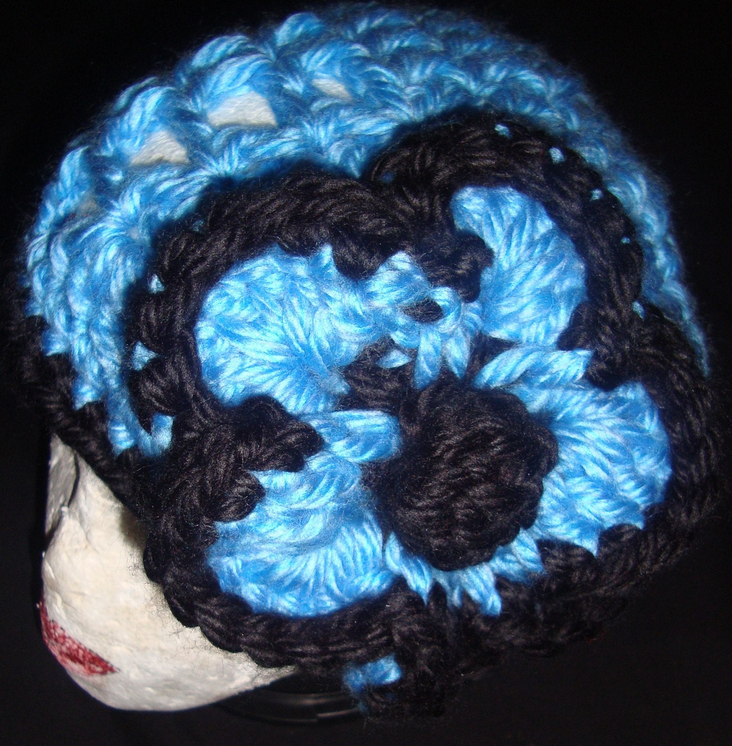 Blue and Black-Detachable Flower Clouche