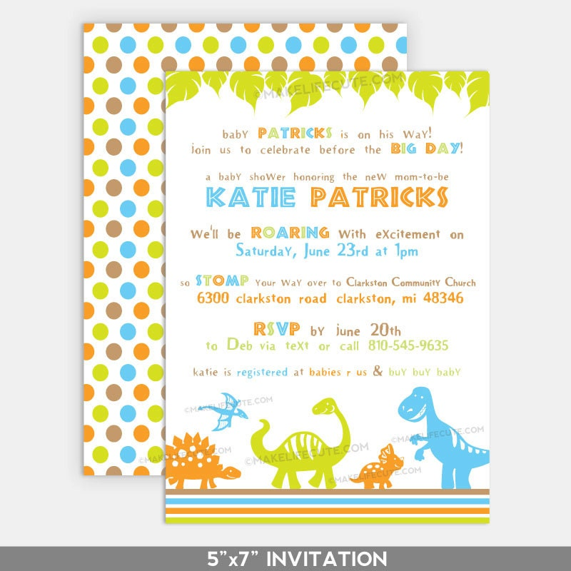 dinosaur baby shower printable 5 x7 invitation dino baby