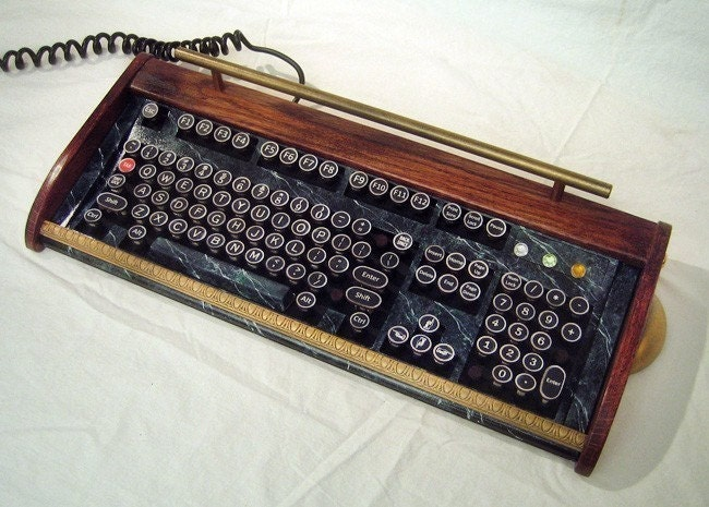 Antique looking -IBM Clicky Keyboard-Victorian Steampunk Styling- Typewriter - Recycled, Rebuilt, Custom Built and Restored