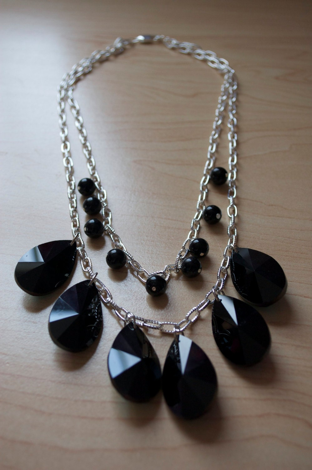 Chunky Black Pendant Necklace