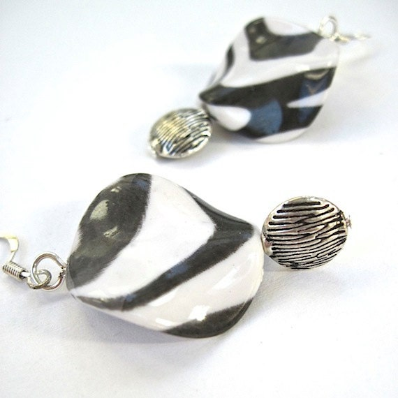 Zebra Dangle Earrings Black White Slate Gray Large Wavy Twist Beads Silver Fall Jewelry Trends - RoughMagicHolidays