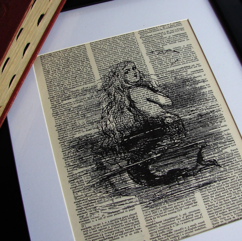 Vintage DICTIONARY Art Print - Mermaid Illustration - 8x10