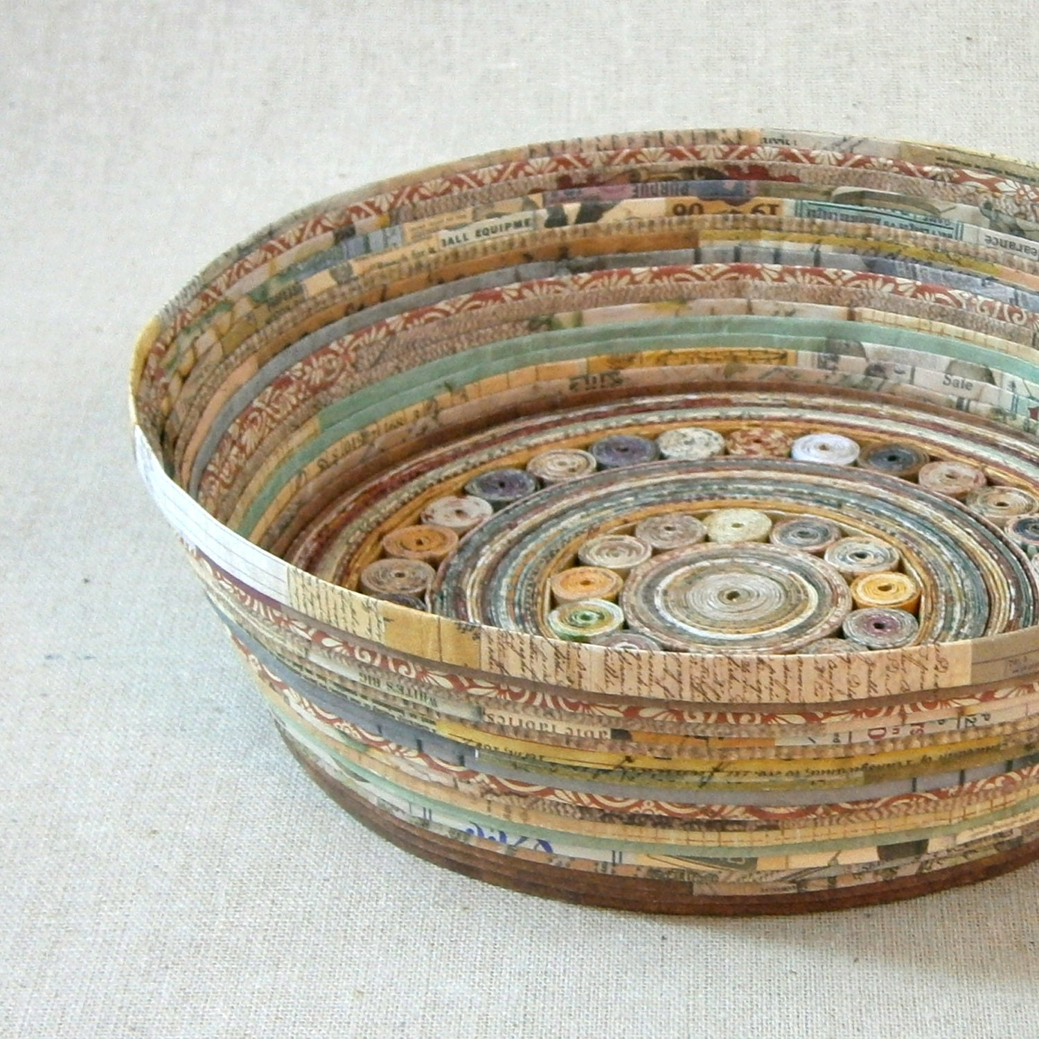 Recycled coiled paper basket bowl large earth by for How to make a newspaper bowl