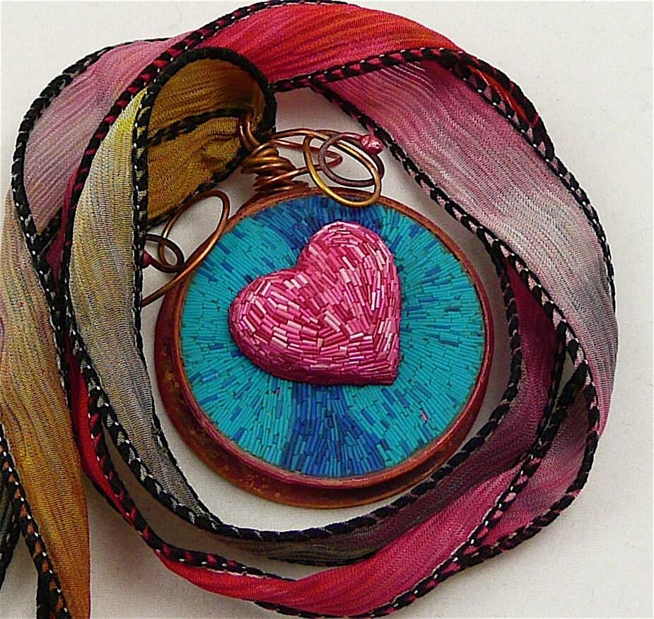 Micromosaic Folk Art Heart Pendant