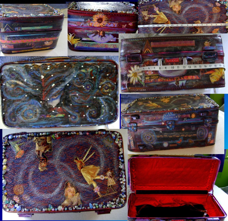 La Magick Continue Handpainted decoupage vintage suitcase