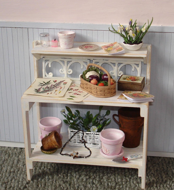 gorgeous shabby chic potting bench by dollshouseminiatures on etsy