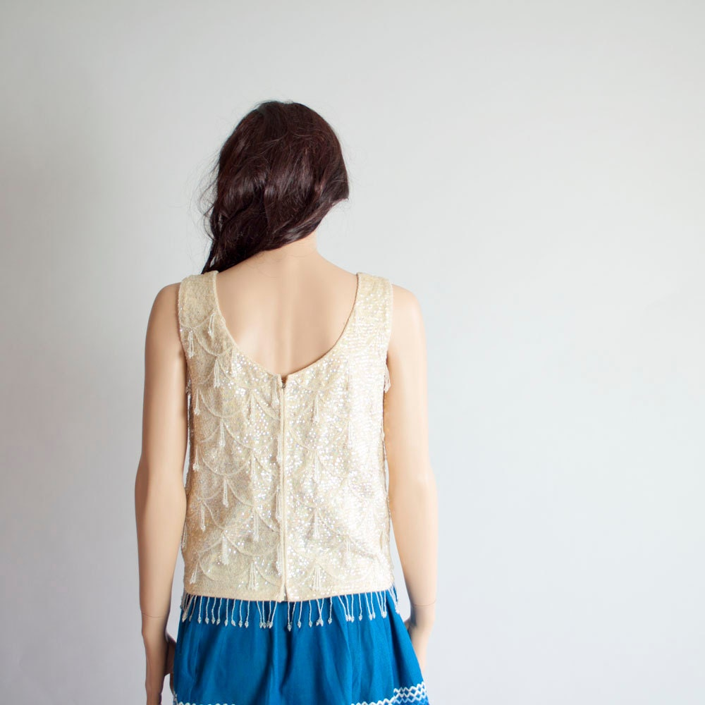 Vintage 60s CHANDELIER Beaded Sequin Top by MariesVintage on Etsy from etsy.com