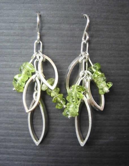 Dangle Leaf with Peridot Earrings Sterling Silver