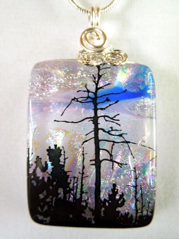 Dichroic Fused Glass Jewelry Pendant 2292j - WireWrapStone