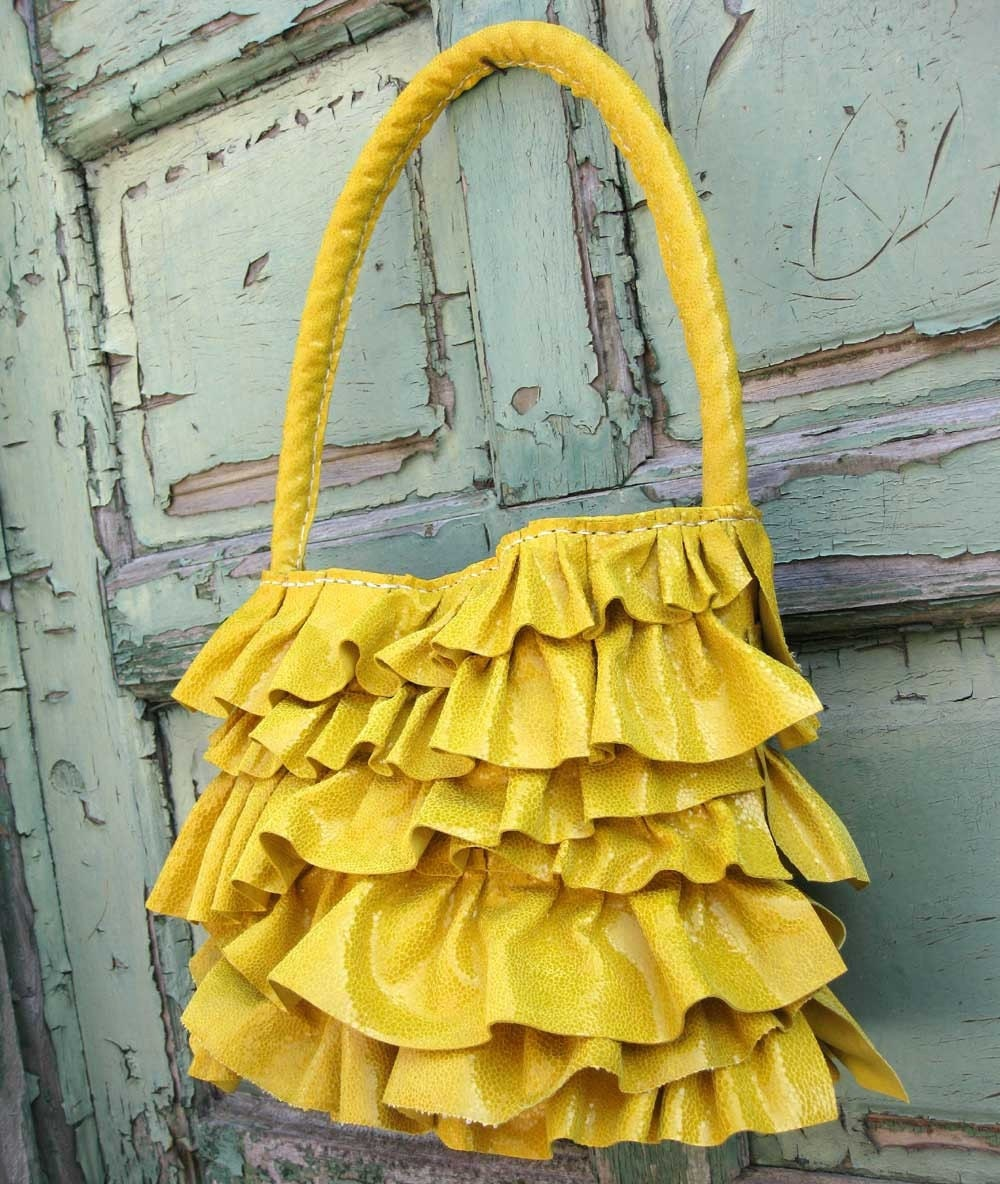 Yellow Sunshine Leather Ruffle Bag by Stacy Leigh Ready to Ship