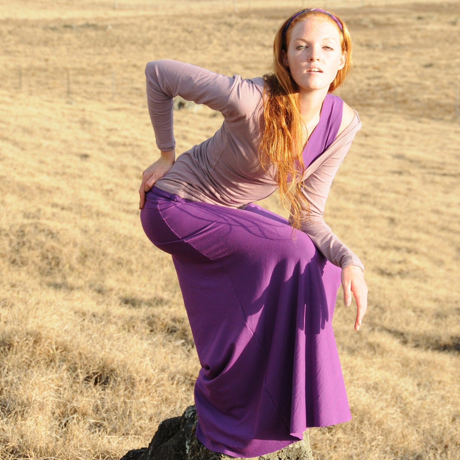 Purple Fashion Maxi Skirt Long Skirt in Phlox Purple Plum Organic Cotton Eco Friendly Women