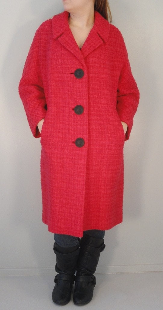 Bright Two Tone Pink Plaid Nubby Vintage Wool Coat 1950s 1960s Size Large/Extra Large - VintageRepeats