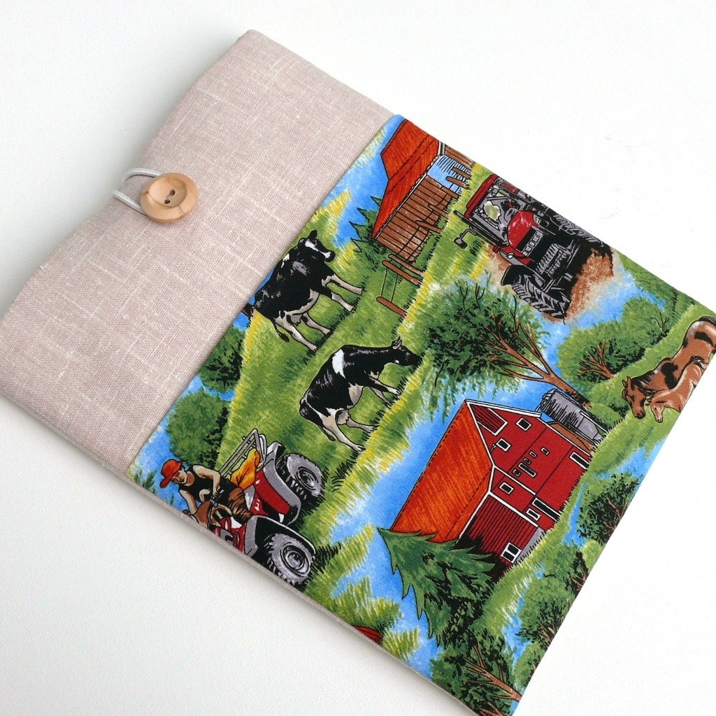 15 inch MacBook  Pro Case Laptop Padded Sleeve for Toshiba Sony HP with Pocket  Shock Absorbent Foam Padding  Pure Cotton  Country Life