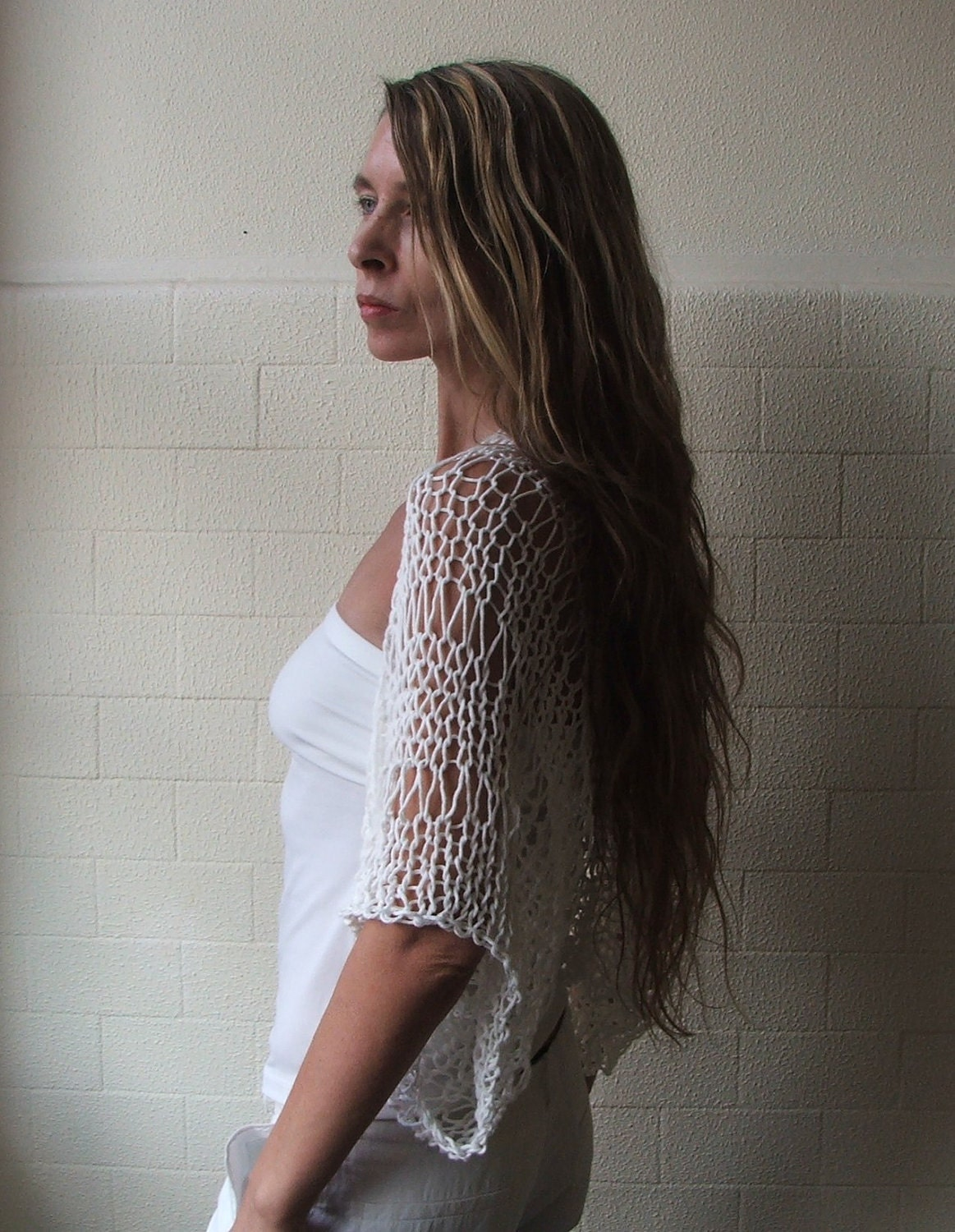 Custom order for ColleenV Cream off white Eco cotton loose weave shrug