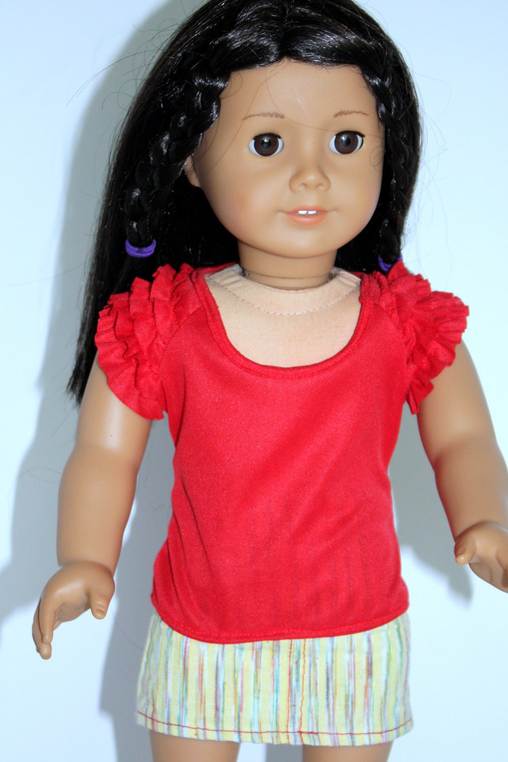 American Girl Doll Red Ruffle Sleeve Knit Top and Yeloow Stripe Mini Skirt Tan Sandals - JessieAmerica