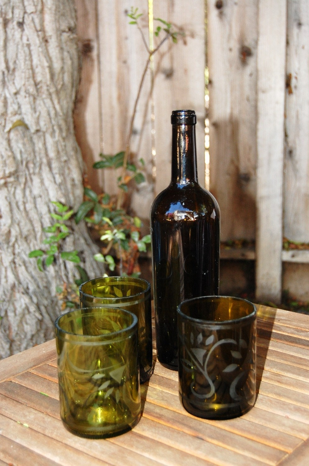 Etched Repurposed Wine Bottle Glasses