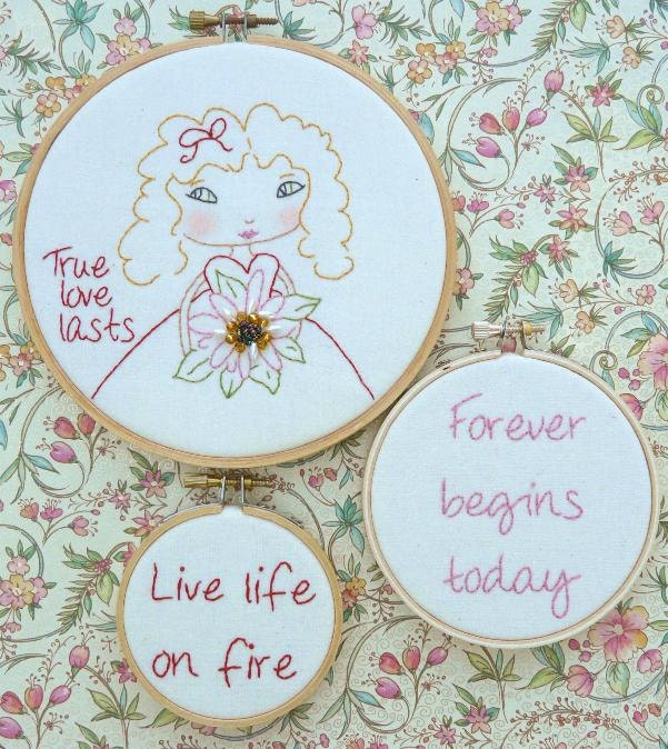 new 2012 True love last Girl Stitchery hoops E Pattern - email Pdf beads inspirational quotes art embroidery flowers
