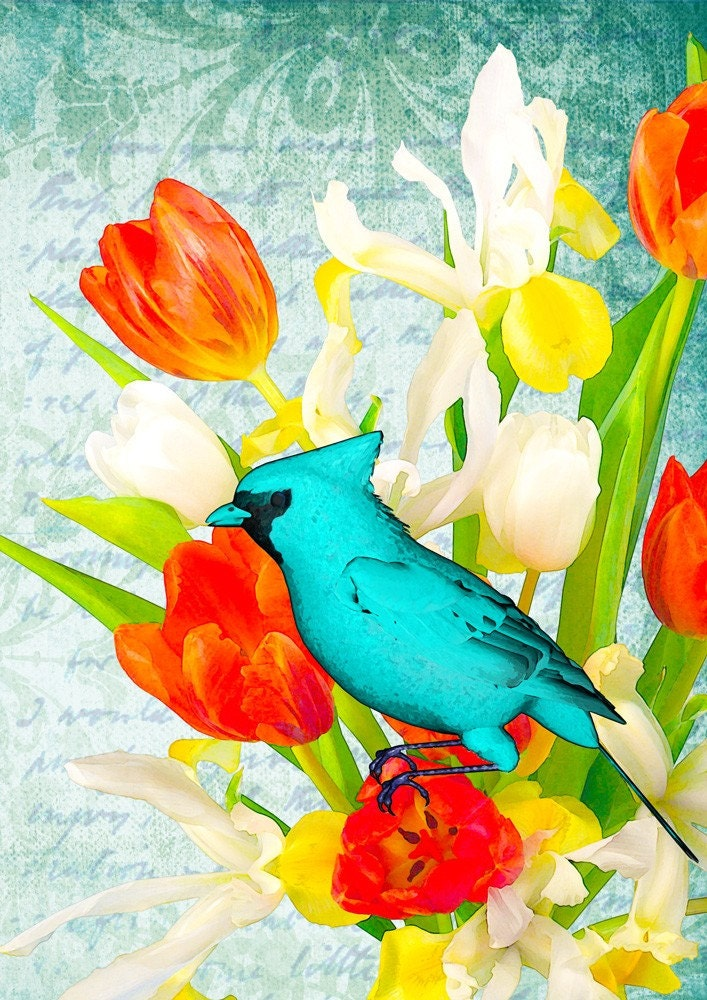 BLUE BEAUTY - Poster print collage with cardinal bird and flowers in vintage style - size 8,268 X 11,693 inches