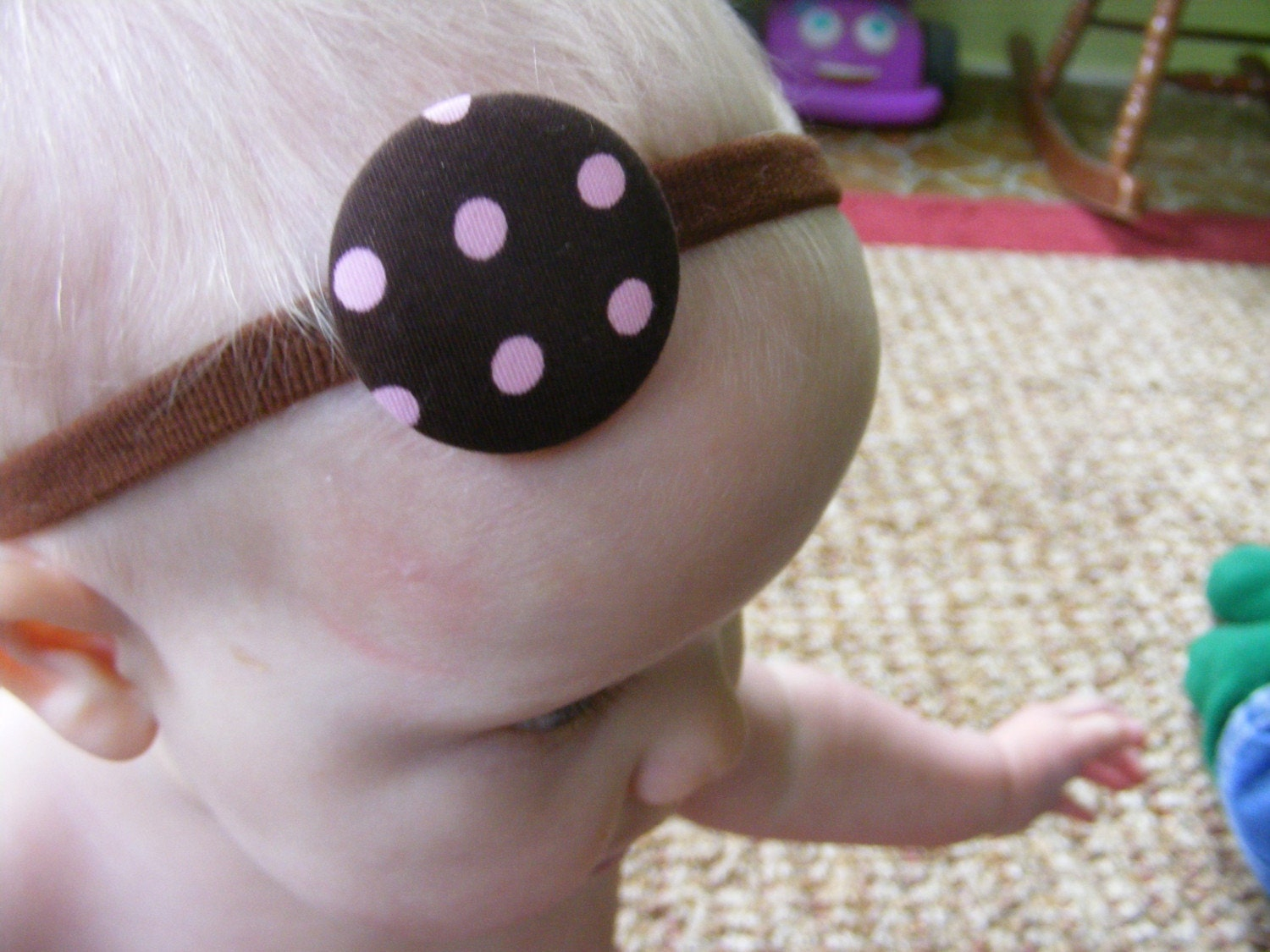 Cute as a button headband polkadotty