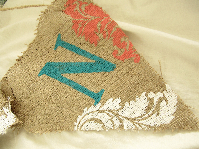 to burlap banner baby shower wedding holiday birthday damask banner