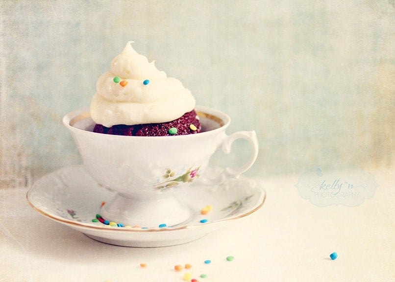 Cup of Cake- Red Velvet Cupcake- Vintage Teacup- Blues and Creams- Still Life- Sweets- Colorful Sprinkles- Dessert- 5x7 Fine Art Print