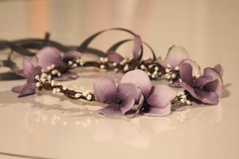 Purple Flower Hair Wreath flower girl head by BambaroosBoutique