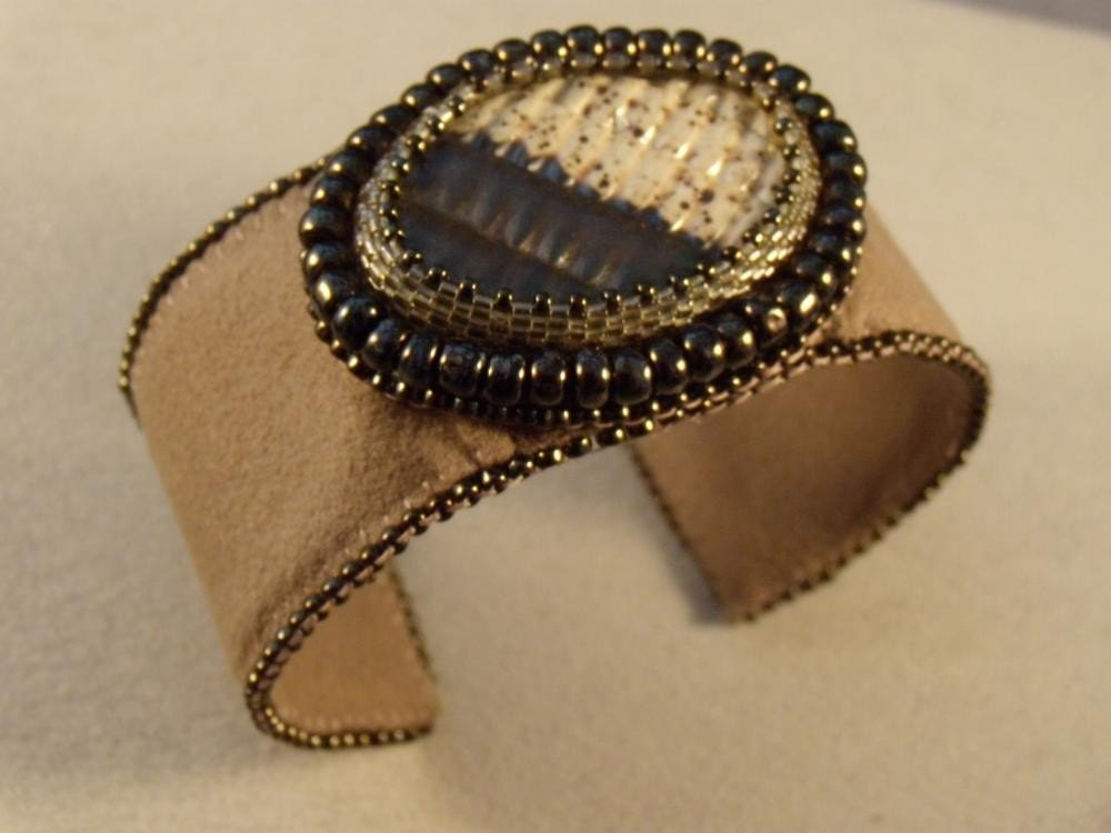 City Life Bead Embroidered Cuff Bracelet