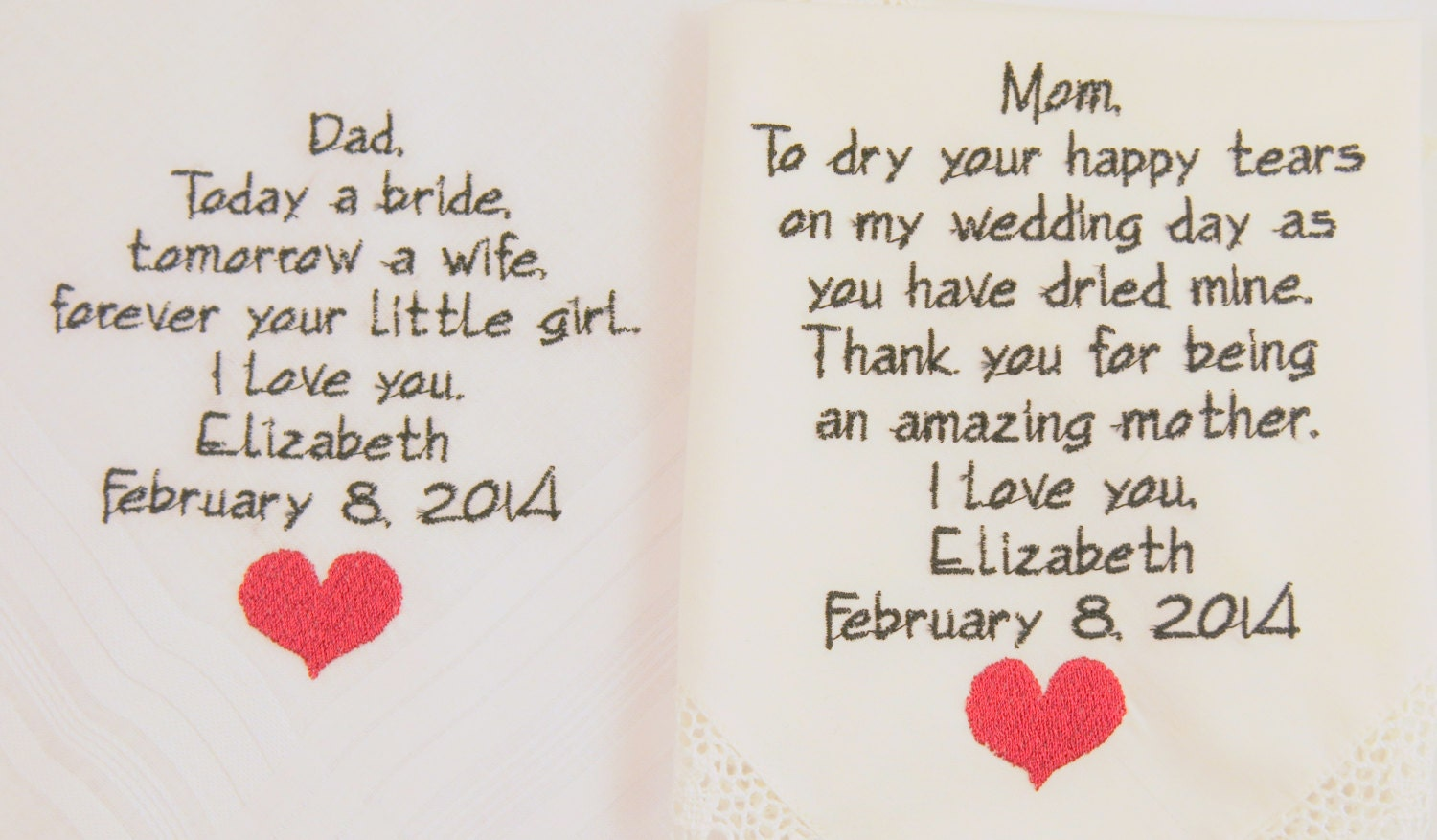 Best Gift For Mom And Dad Wedding Anniversary : ... Wedding Hankerc hiefs handkerchiefs Personalized 2 gifts for parents