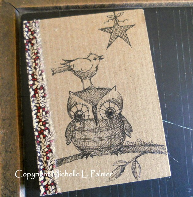 Owl and Songbird Bird Star Original Art Illustration on Little Craft Book