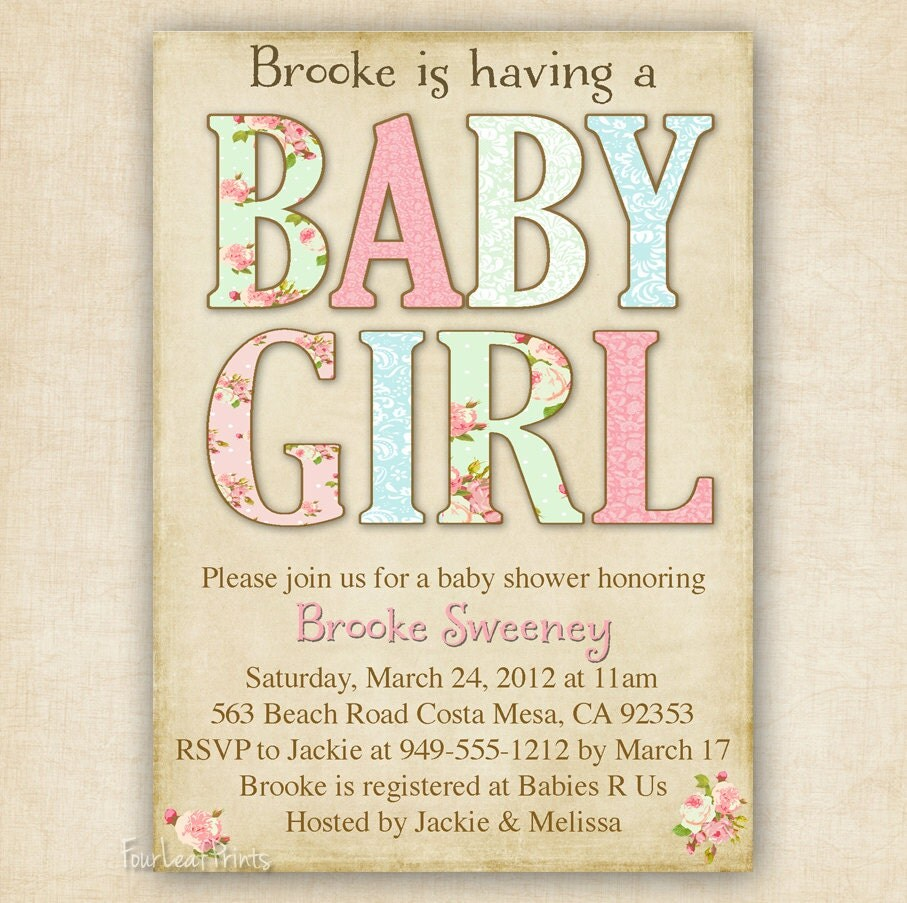 shabby chic baby girl shower invitation printable diy 4x6 or 5x7