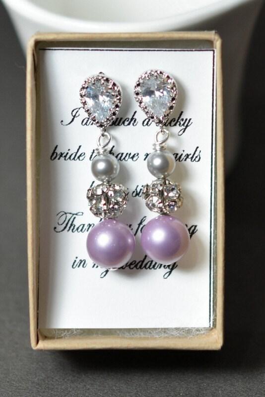 Purple gray , lavender purple -Wedding Jewelry Bridesmaid Gift Bridesmaid Jewelry Bridal Jewelry Pearl Drop Earrings Cubic Zirconia Earrings